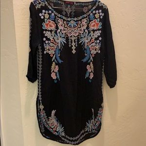 Johnny Was Black Embroidered Tunic Dress Small